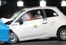 A Fiat 500 undertakes a EuroNCAP crash test
