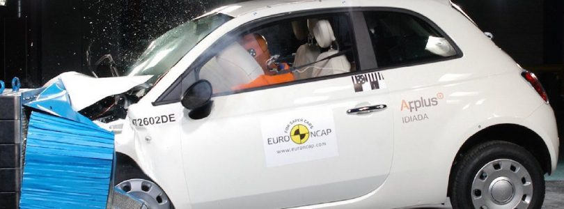 A Fiat 500 undertakes a EuroNCAP crash test