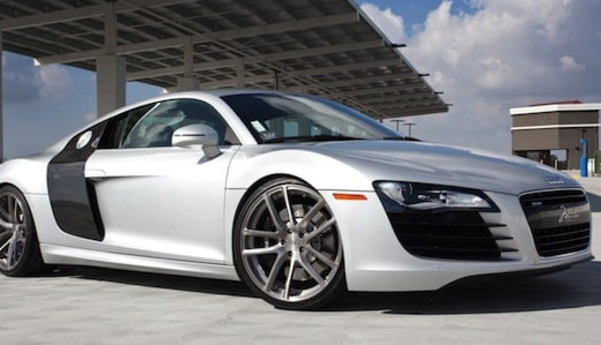 An Audi R8 with aftermarket alloy aluminium wheels (The Car Expert)