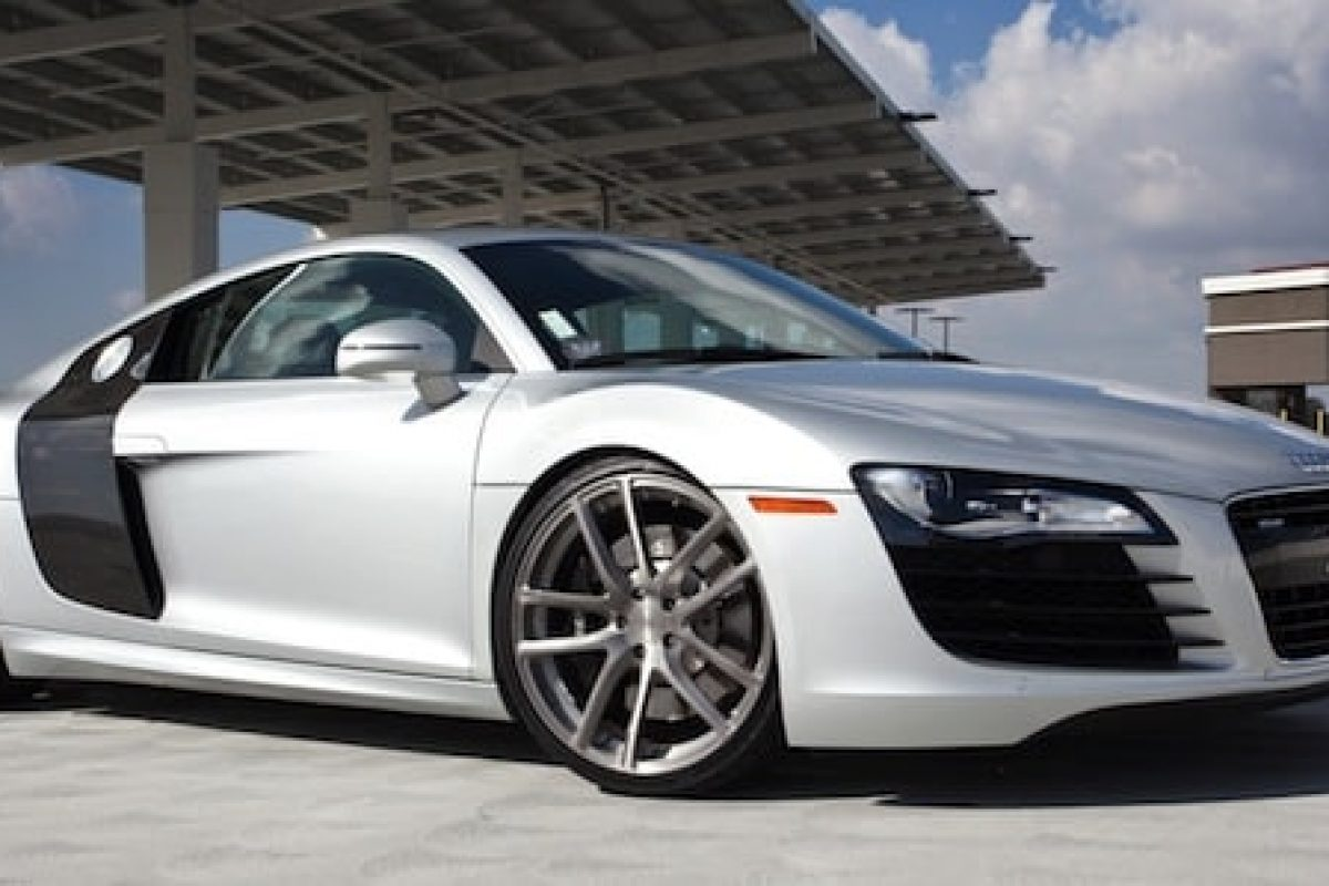 An Audi R8 with aftermarket alloy aluminium wheels (The Car Expert)