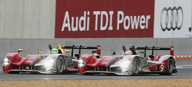 Audi R15 TDI with diesel engine winning Le Mans in 2010