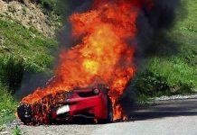 Ferrari 458 on fire
