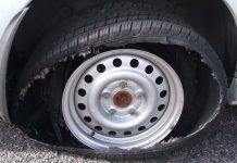 Tyre after a blowout