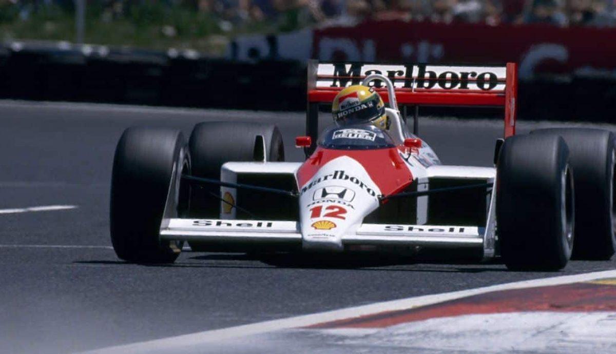 Ayrton Senna in the 1988 Marlboro McLaren-Honda MP4/4