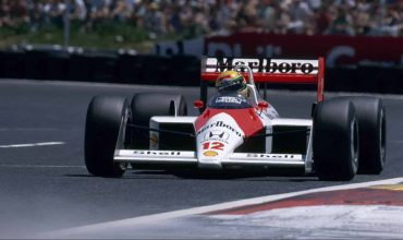 Ayrton Senna in the 1988 Marlboro McLaren-Honda MP4/4