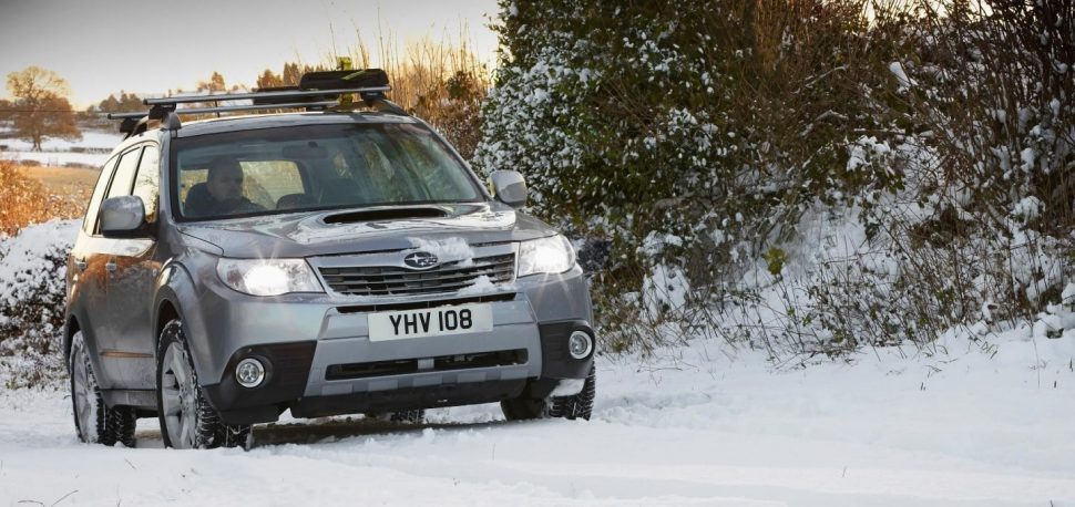 Subaru Forester driving in winter snow