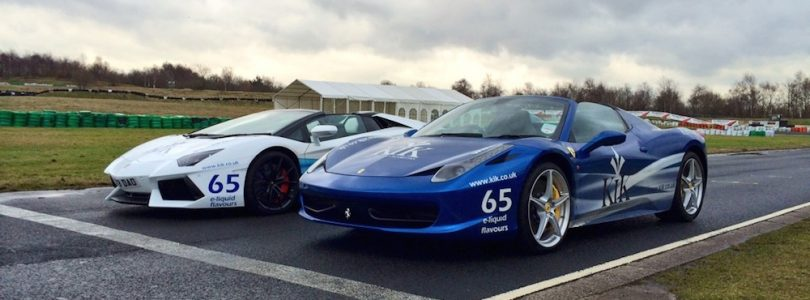 Ferrari 458 Spider and Lamborghini Aventador at the KIK e-cigarettes launch day