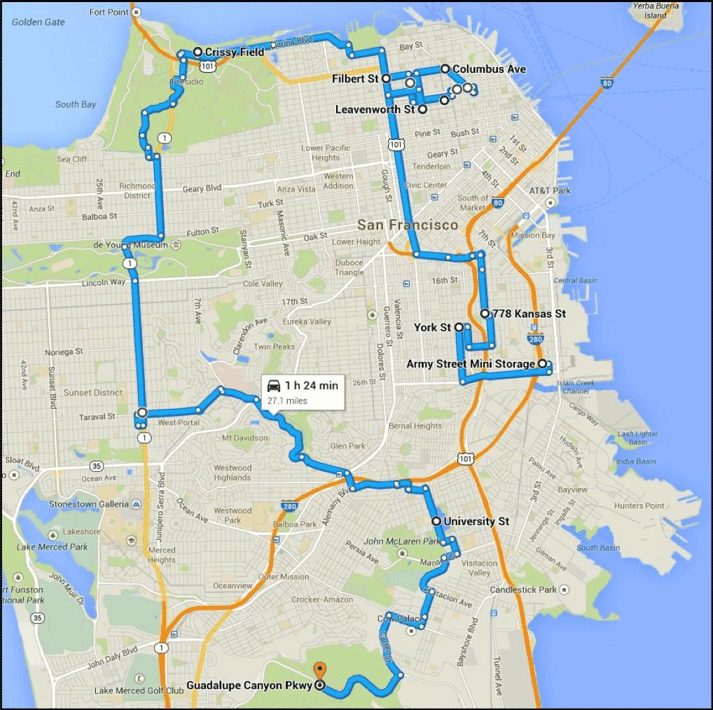 Bullitt car chase map