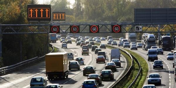 Hard shoulder driving on the M1, Sheffield