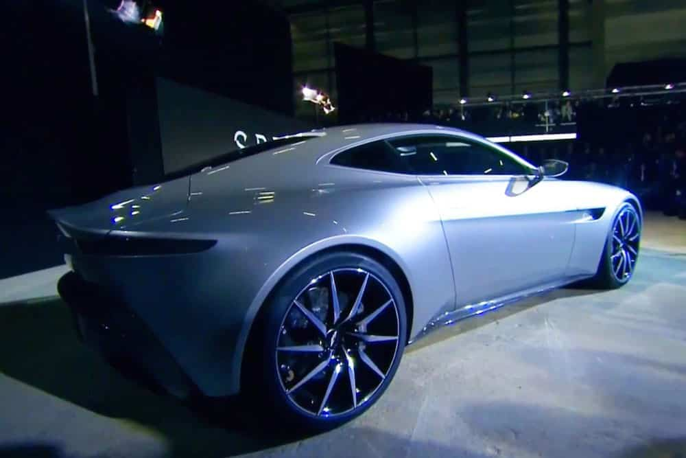Aston Martin DB10 concept car for 007 James Bond unveiled at Spectre launch in 2014 (rear view)