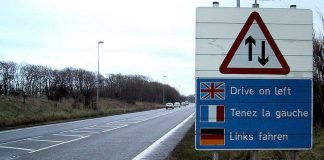 Road sign - drive on the left side of the road in the UK