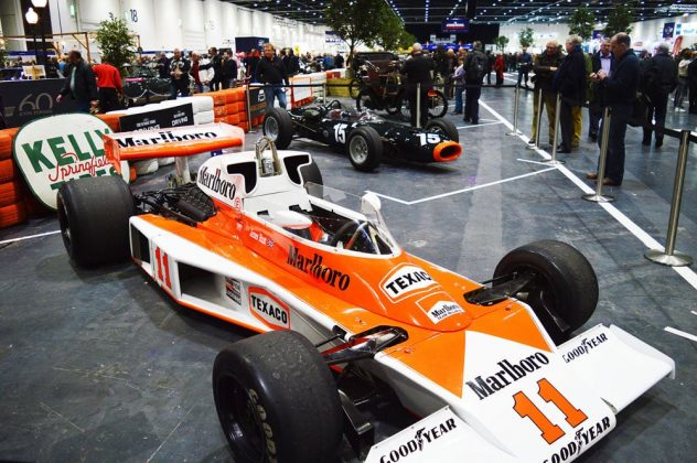 Classic F1 cars from McLaren and BRM at the 2015 London Classic Car Show