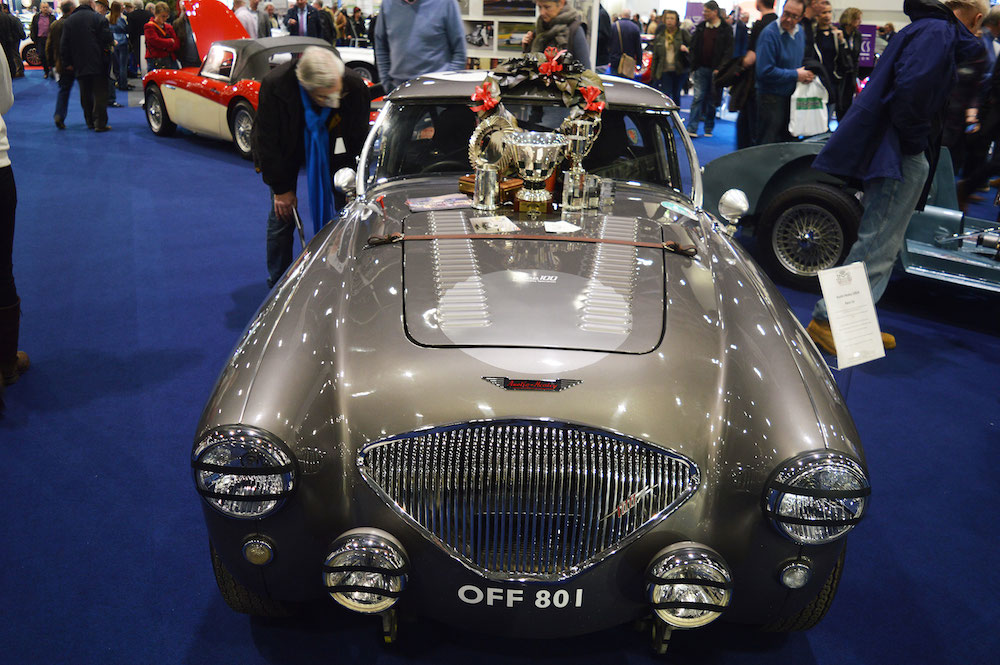 A multiple prize-winning Austin-Healey at the 2015 London Classic Car Show