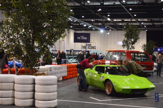 A Lancia Stratos gets ready to rumble at the 2015 London Classic Car Show