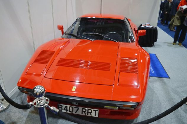A Ferrari 288 GTO tucked away in a corner of the 2015 London Classic Car Show