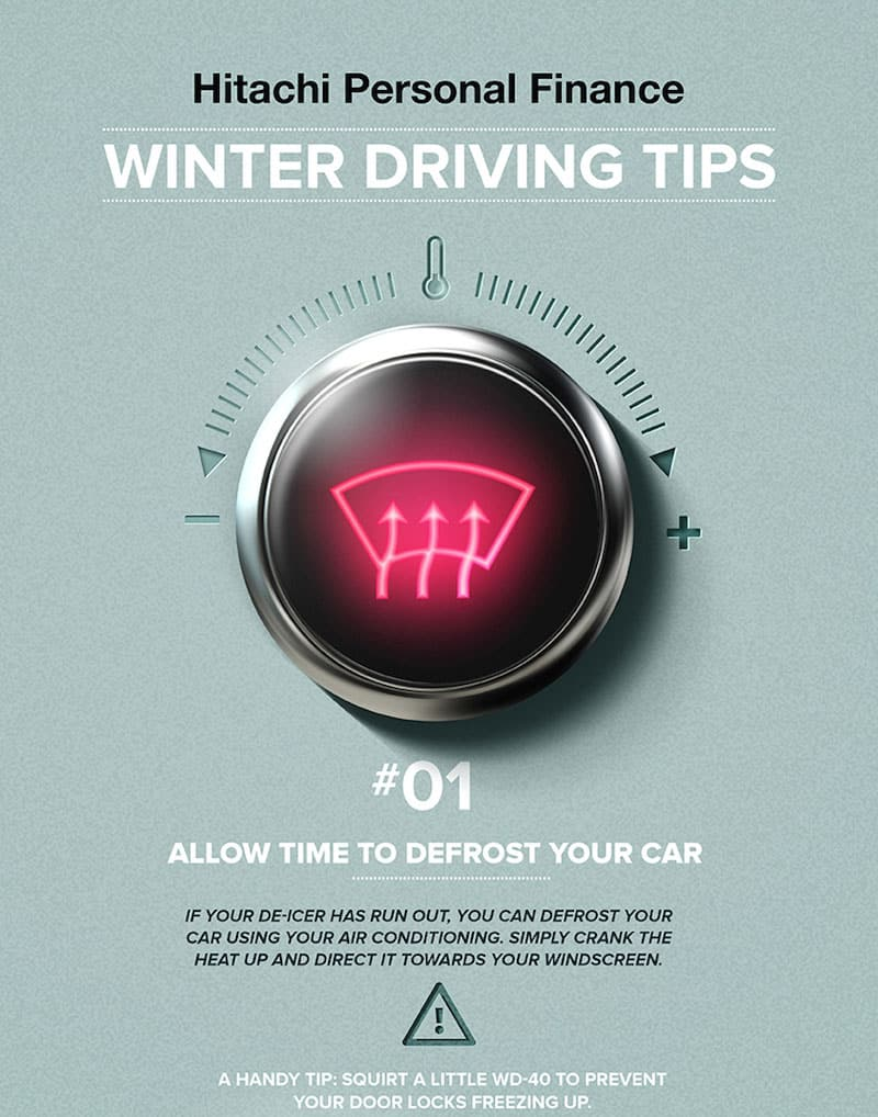 Winter driving tips infographic from Hitachi Personal Finance, part 1