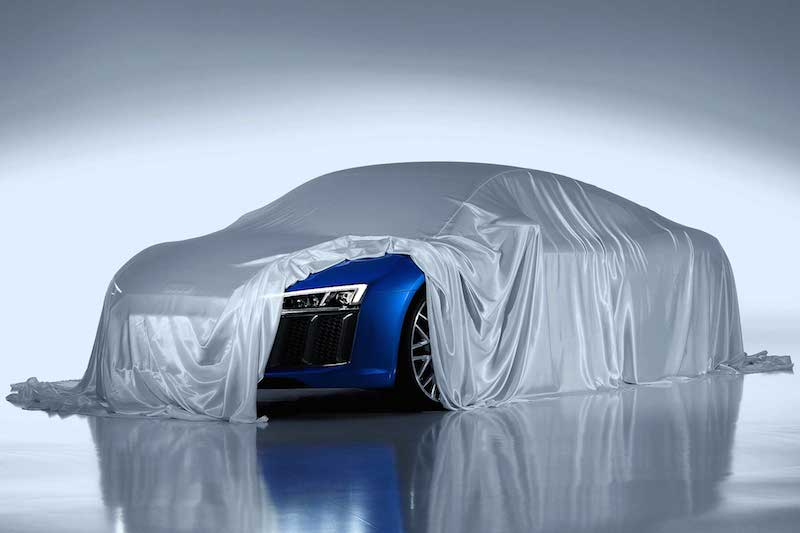 Under that cover is the all-new Audi R8