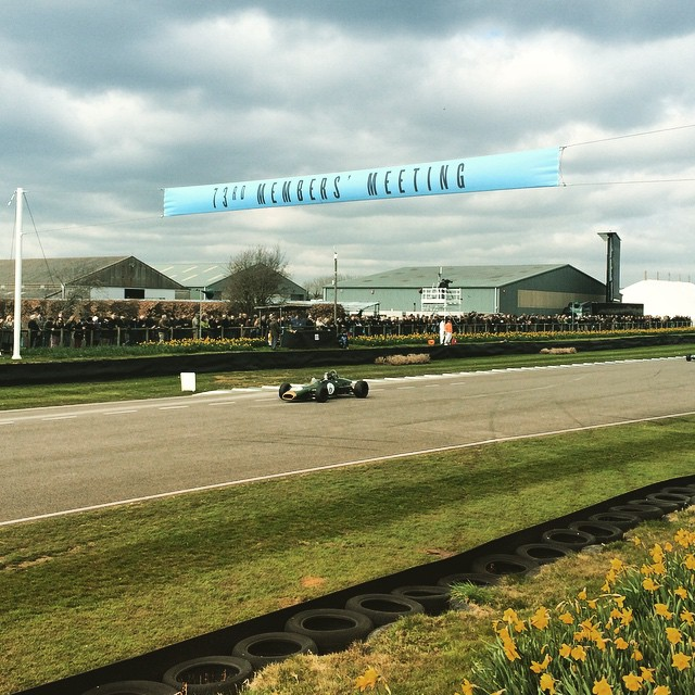 A Brabham powers along the pit straight at the 73rd Goodwood Members' Meeting