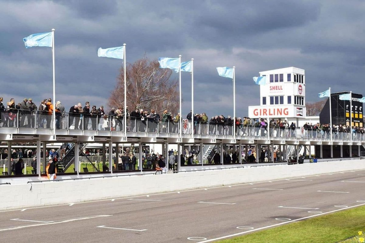 The pit straight at Goodwood. the clouds looked ominous, but rain stayed away for the 73rd Members' Meeting.