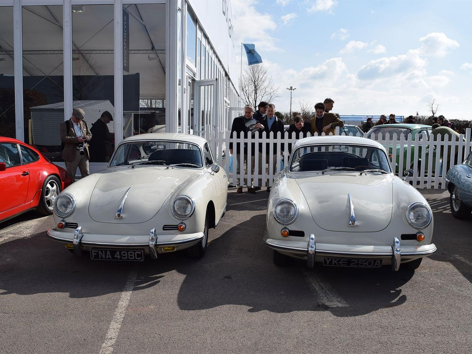 A beautiful pair of Porsche 356 coupés at the 73rd Goodwood Members' Meeting in 2015