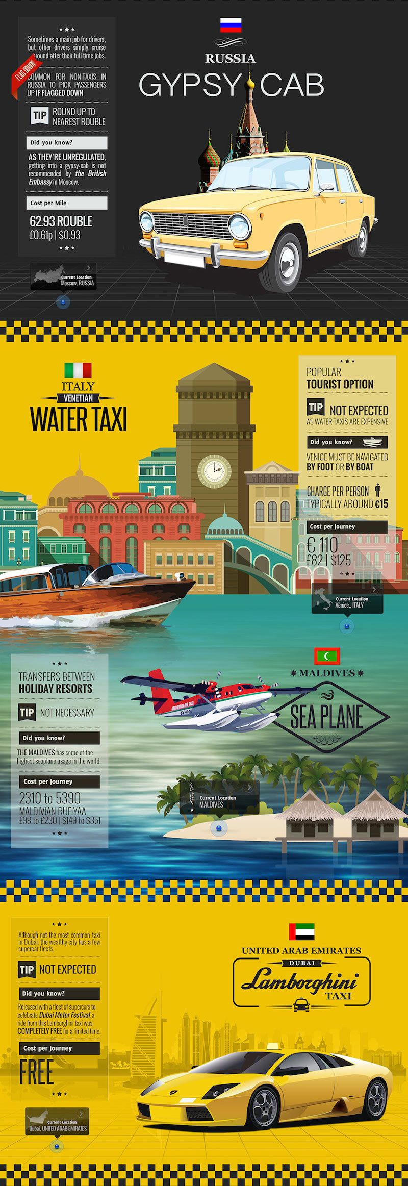 Around the world in 15 taxis - Russia, Italy - Venice, Maldives, United Arab Emirates UAE