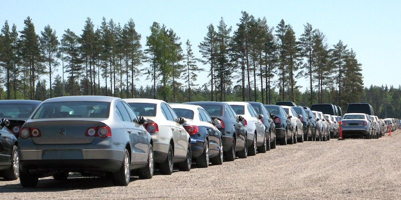 A row of unsold cars - some of these may be pre-registered