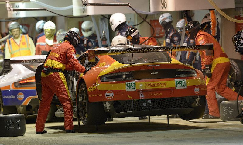 Aston Martin working hard in the pits at Le Mans 2015