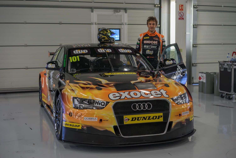 Rob Austin climbs aboard his Exocet Audi A4 BTCC car