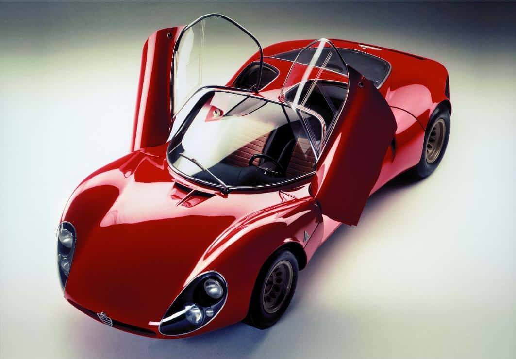 Alfa Romeo 33.2 Stradale showing off its butterfly doors