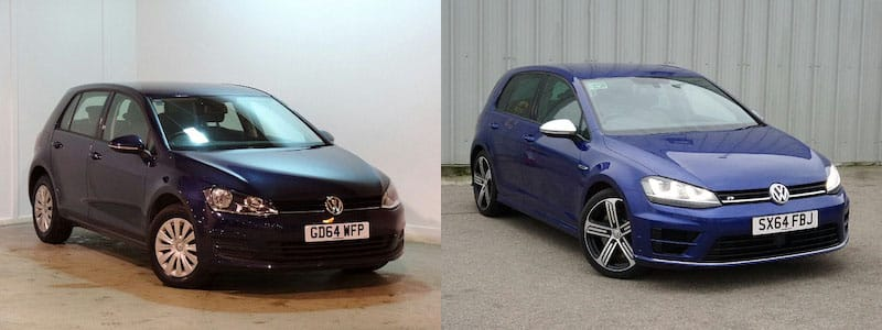 Two blue 64-plate Golfs, but the one on the right will cost a lot more to insure