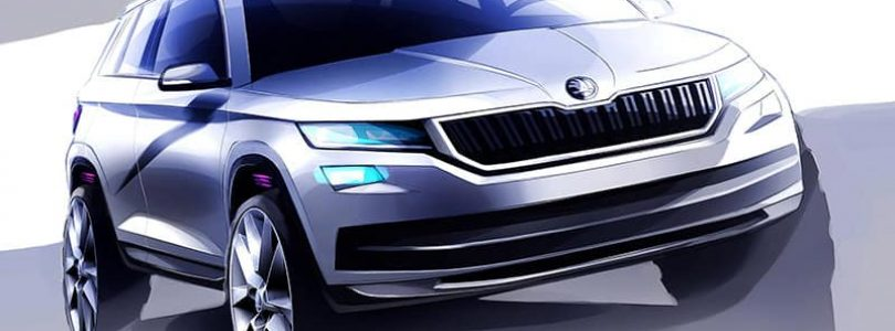 Sketches of new Skoda Kodiaq shown ahead of its debut in Paris