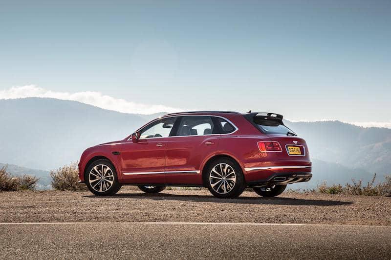 Bentley Bentayga on a mountain road lookout