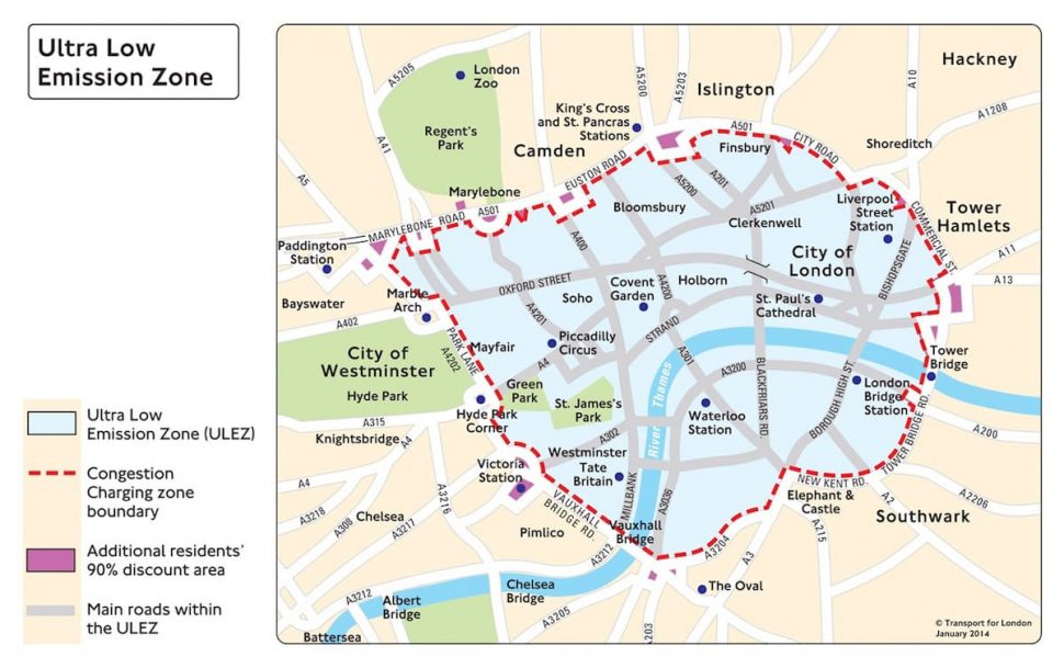 Map showing London ULEZ and CCZ areas