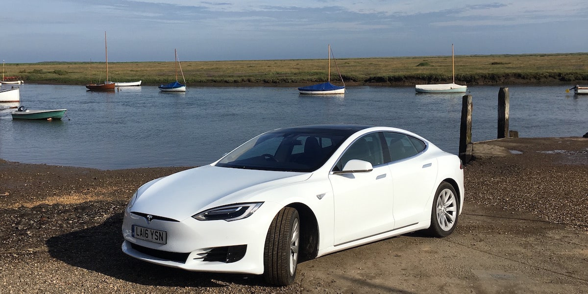 White Car rental Tesla Model S