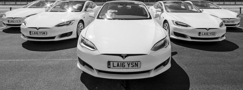 White Car Tesla Model S line up