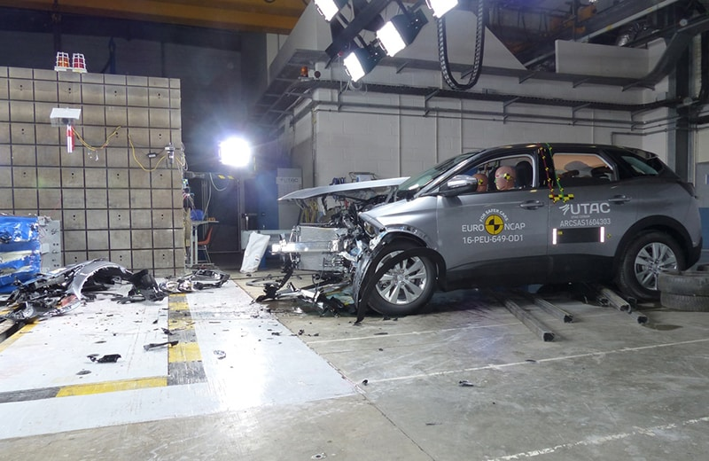 Aftermath of the Peugeot's frontal-impact test. Photo: Euro NCAP