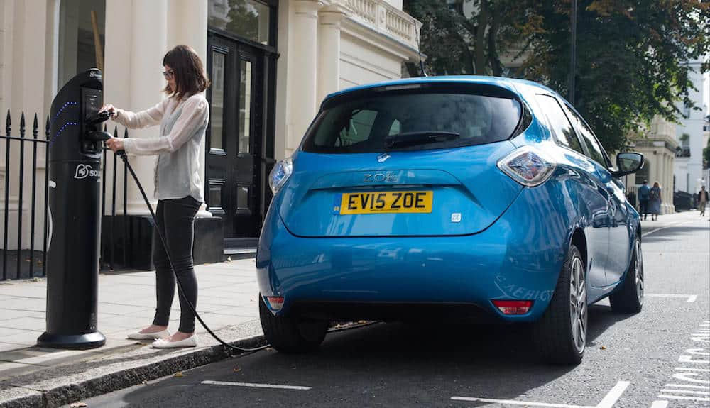 Renault ZOE charging at a public charging point in London