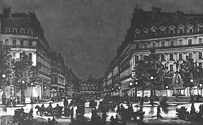 Early electric street lighting in Paris, 1878