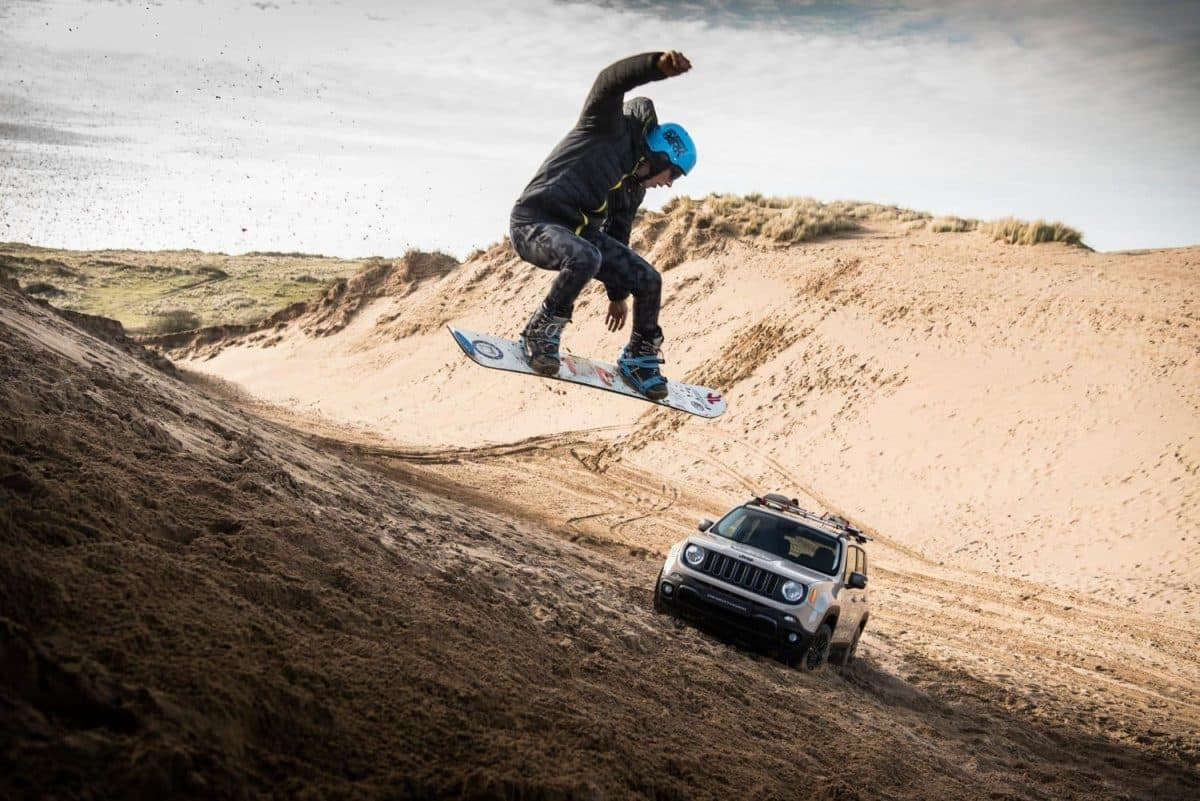 New Jeep Renegade Desert Hawk tows sandboarder Alex Bird