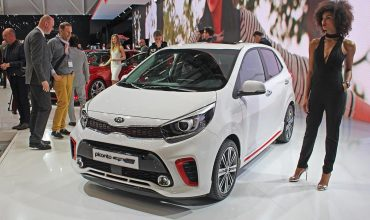 White Kia Picanto on display at the Geneva Motor Show