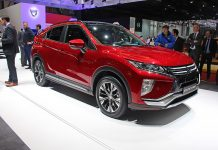 Red Mitsubishi Eclipse Cross on Mitsubishi's stand at the Geneva Motor Show