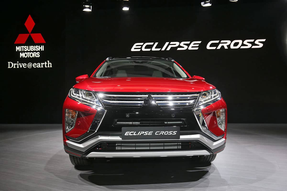 Red Mitsubishi Eclipse Cross on display at the Geneva Motor Show