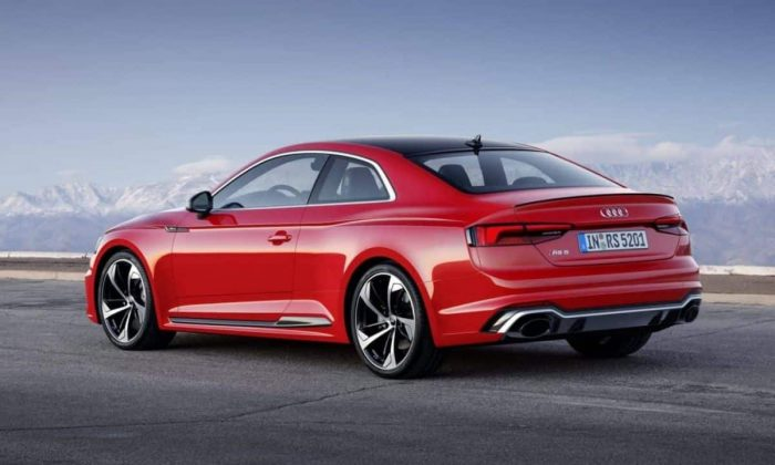 View of the rear and side of the all-new Audi RS 5 Coupe
