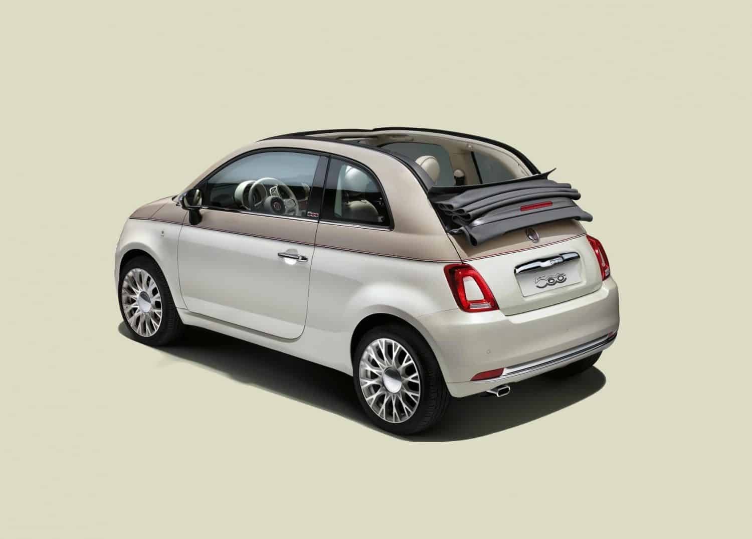Rear view of the special edition Fiat 500