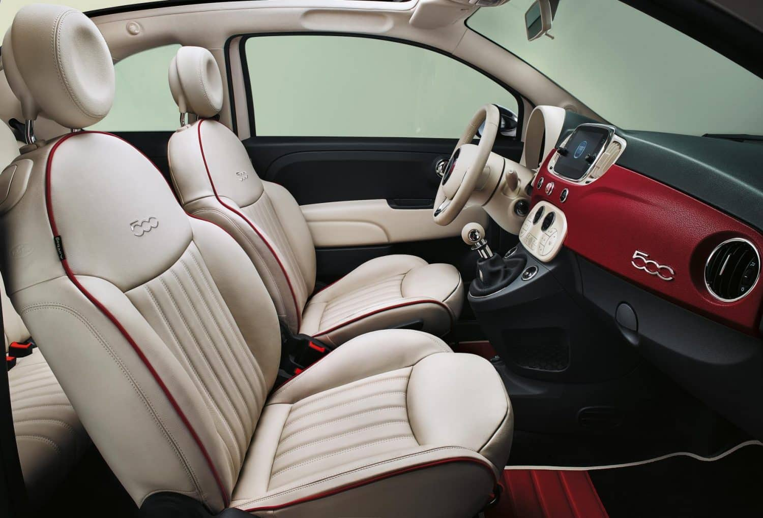 Interior of the special edition 500 released by Fiat to celebrate the model's 60th anniversary