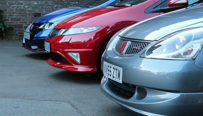 Three generations of Honda Civic Type-R