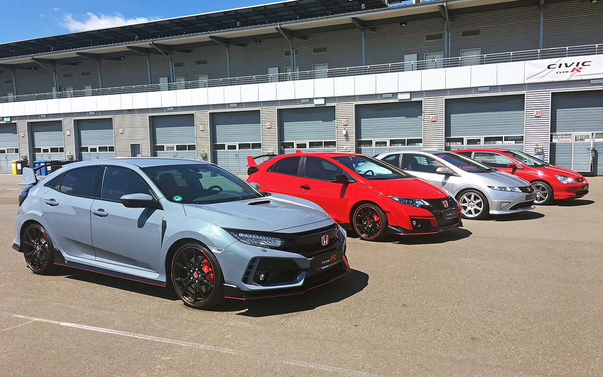 Honda Civic Type R 2017 with its predecessors