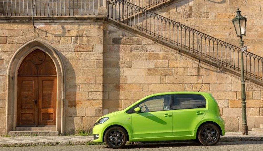 Profile of green Skoda Citigo
