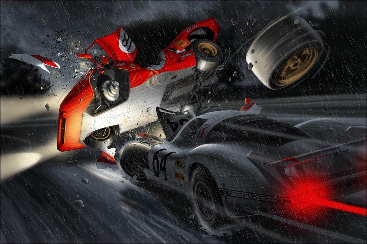 Steve McQueen in Le Mans - fiery flashback