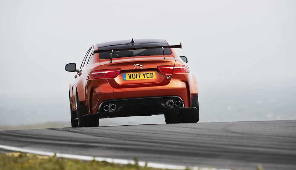 Rear view of Jaguar XE SV Project 8